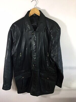 Vintage Mens Long Leather Jacket/Coat Size L Black