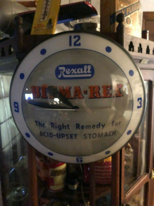 REXALL/BISMA-REX 1950s/60s Double Bubble Light Up Clock-Nice-Works
