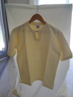 Top⁄T Shirt/Pale yellow⁄cool ribbed cotton⁄loose⁄sz38 VGC Unisex