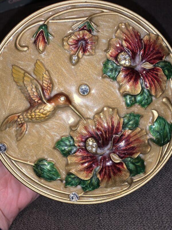 Round Metal & Enamel Mirrored Trinket Dresser Box Hummingbird Gold Floral EUC