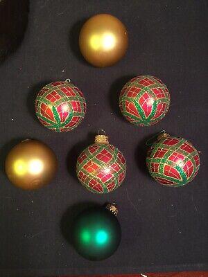Martha Stewart 4 Red & Gold Striped Glitter 4 Solid Glass Christmas Ornaments