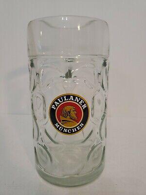 Paulaner Munchen 1 Liter German Beer Stein Mug Rastal Dimpled Glass