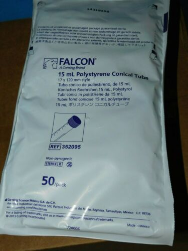 352095 BD FALCON 15ML POLYSTYRENE CONICAL TUBE 17 X 120MM STYLE NEW QTY 50