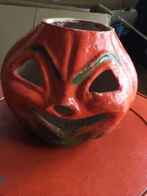 "Vintage Large JOL Paper Mache Halloween Pumpkin Jack O Lantern 40's 7"""