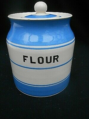 Vintage Price Bros.KITCHEN WARE Blue & White ** FLOUR ** Storage Jar