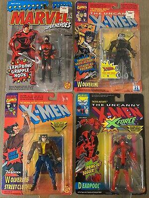 1992 ToyBiz X-Men DEADPOOL w spring-out dagger, + 3 Action Figures NIP Sealed