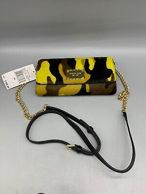 MICHAEL Michael Kors Jet Set Travel Haircalf Wallet on Chain ACID LEMON NWT (D7)