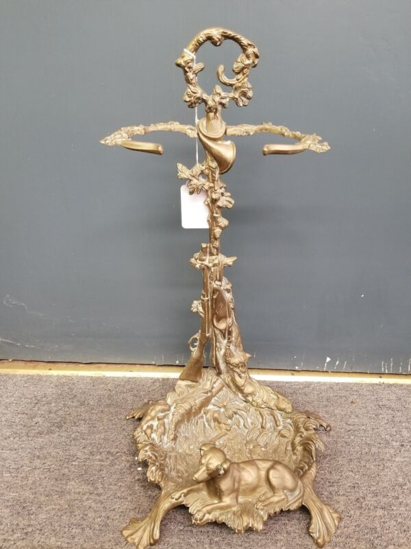 Vintage Brass Fireplace TOOL STAND HOLDER Dog and Hunting Motif