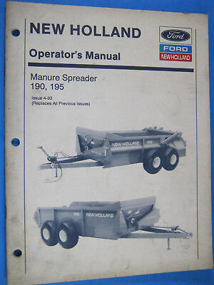 New Holland Ford 190 195 Manure Spreader Operators Manual Oem