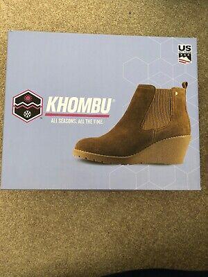 "Khombu ""Liz"" - Memory Foam Suede Leather Wedge Ankle Boots - Chestnut"