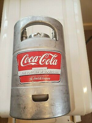 "RARE VINTAGE COCA COLA REFILLABLE SYRUP CANISTER KEG ALLOY 13.5"" TALL X 9"" WIDE"
