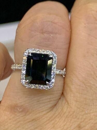 3Ct Emerald Cut Black Diamond Halo Women
