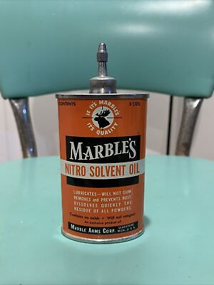 Vtg MARBLE'S NITRO SOLVENT OIL HANDY OILER LEAD TOP Rare Old Advertising Tin Can
