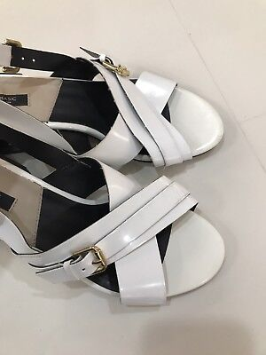 c2948113b8e zara block heel shoes White Retro Style Sandals Size 7.5