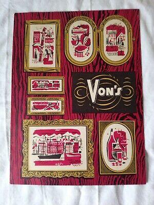 Vtg 1953 VON'S CAFE Menu 1423 Fourth Ave SEATTLE WA von Herberg Family