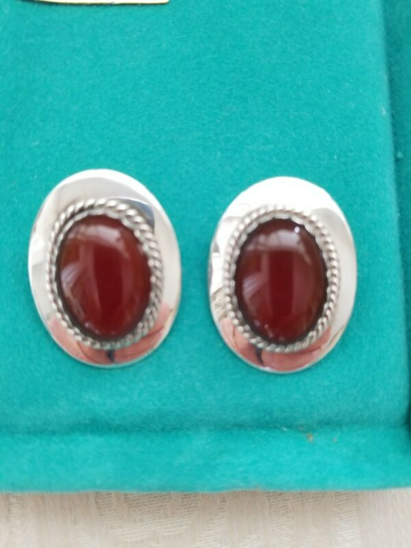NWOT Vintage Navajo Sterling Silver Carnelian Julia Etsitty Concho Clip Earrings