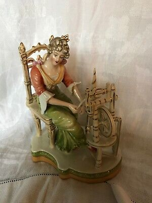 Sitzendorf  figurine of a  young woman spinning at her wheel