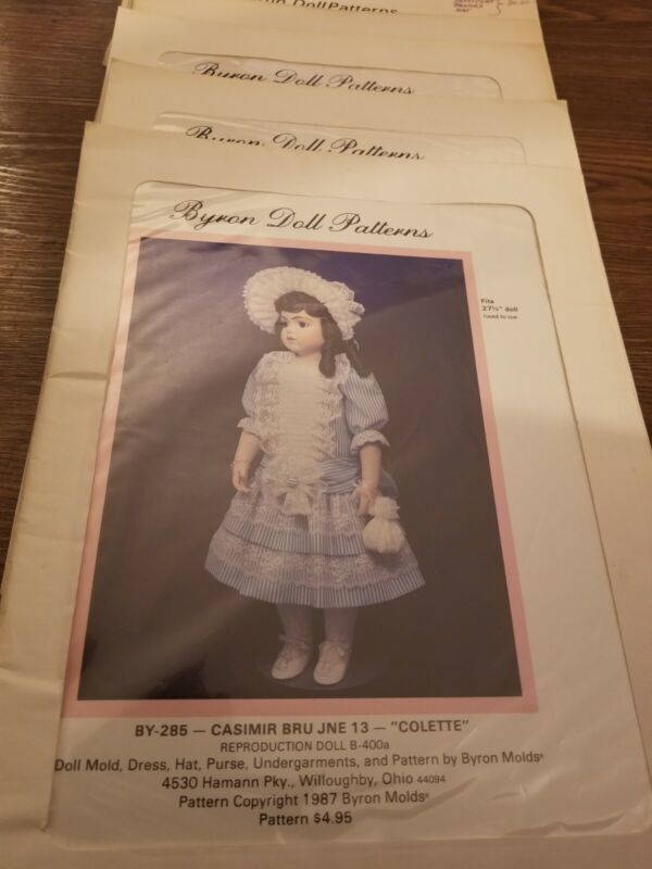 10 Vtg Byron Doll Clothes Dress Sewing Pattern Lot Pre- Cut