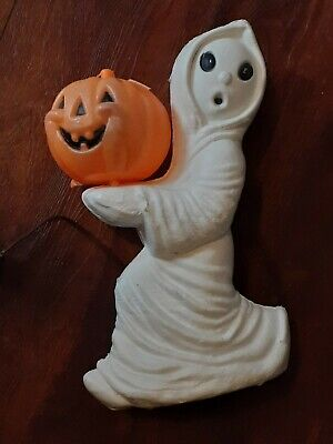 Vintage Halloween Ghost with Pumpkin Plastic Blow Mold Light Orange Decoration