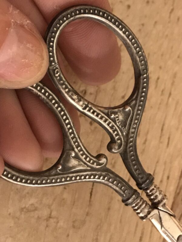Antique Sterling Silver Sewing Scissors Germany Ornate Handles