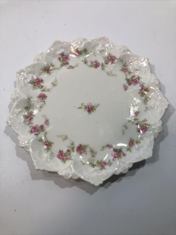 """Set of 3- Vintage MZ Austria Porcelain Drop ROSES 6"""" Dessert Plates"""