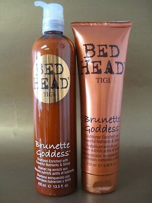TIGI BED HEAD BRUNETTE GODDESS SHAMPOO 13.5 OZ & CONDITIONER 8.45 OZ scuffs SET