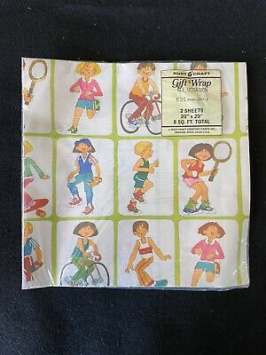 "VTG 1960's-1970's Children's GIFT WRAP RUST CRAFT PAPER 2 SHEETS 20"" X 29"""