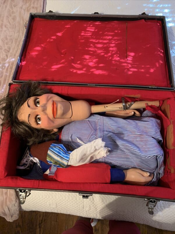 Vintage ventriloquist dummy doll puppet figure talking mannequin W/case Circus