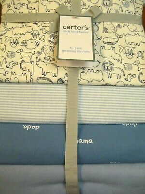 Carters Baby 4 Pack Baby Boy Animals Receiving Blankets Blue Bear Boy