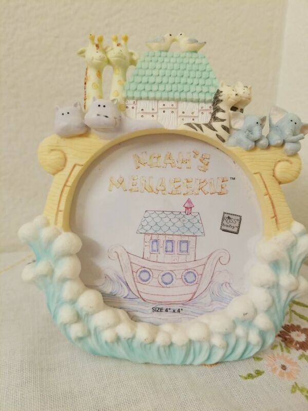 Hand Painted Porcelain Baby Picture Frame Noah