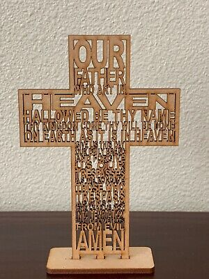 Our Father Cross Prayer MDF With Base 13 cm  /Gift/ Baptism/Wedding - Prayer Cross
