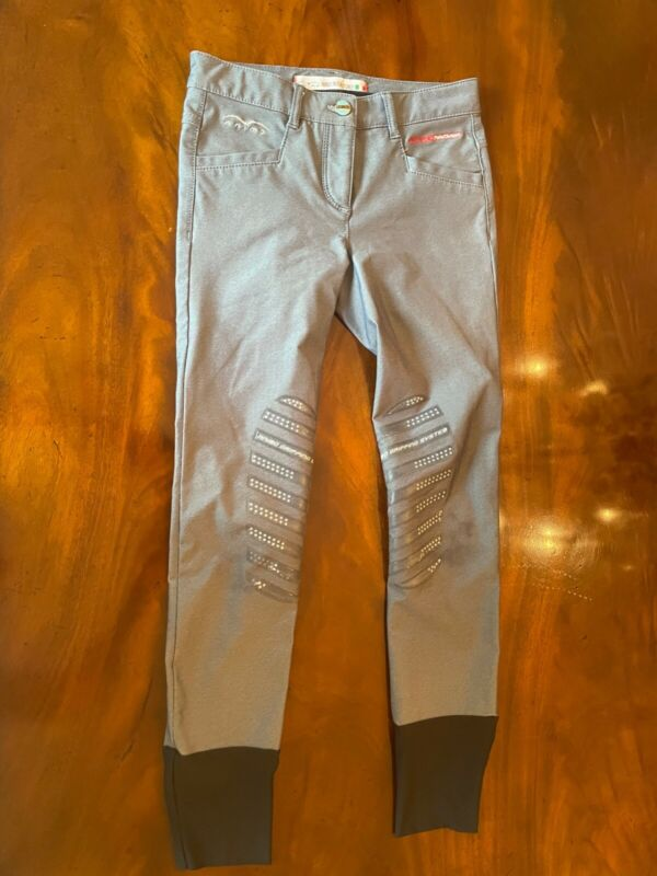 Animo Heather Grey Front Zip Breeches Equestrian Riding Pants in Good Condition