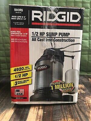Ridgid 12 Hp Cast Iron Submersible Sump Pump 500rs