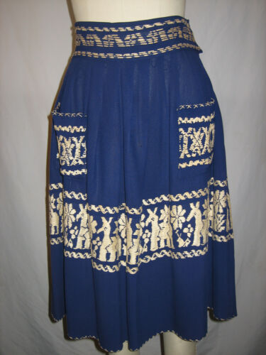 vtg 30s 40s Rayon Nylon Jersey ETHNIC Hand stitched Pocket Pleat Tourist Skirt S