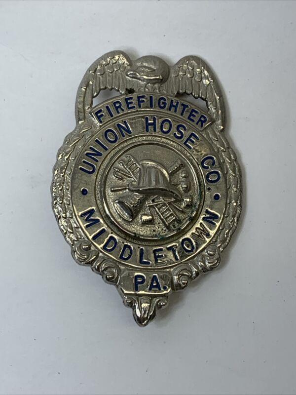 Vintage Firefighter Firemen BADGE MEMBER  Union House Co Middletown PA Pin