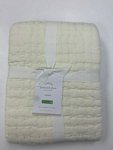 Pottery Barn Ivory Pick-Stitch Handcrafted Cotton/Linen Sham Standard