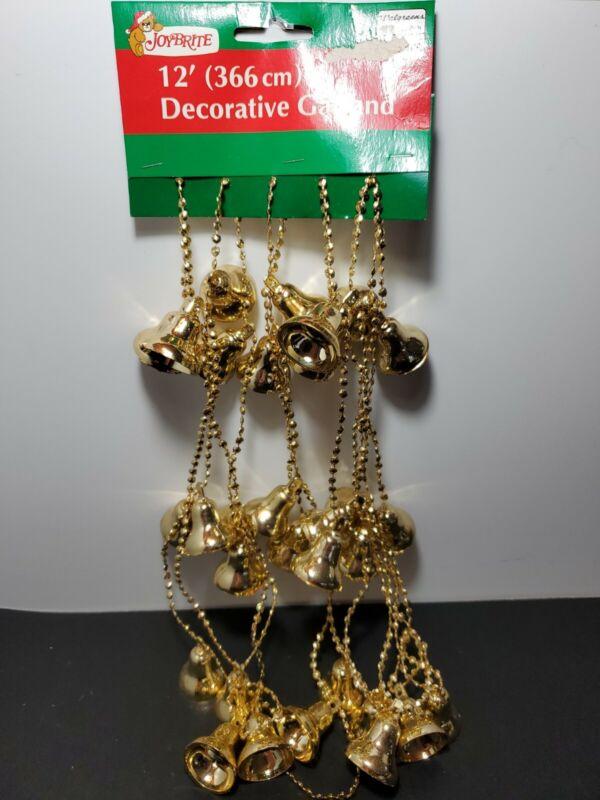 Vintage Joybrite Plastic Embossed  Christmas Bell Garland 12 ft Gold Brand New