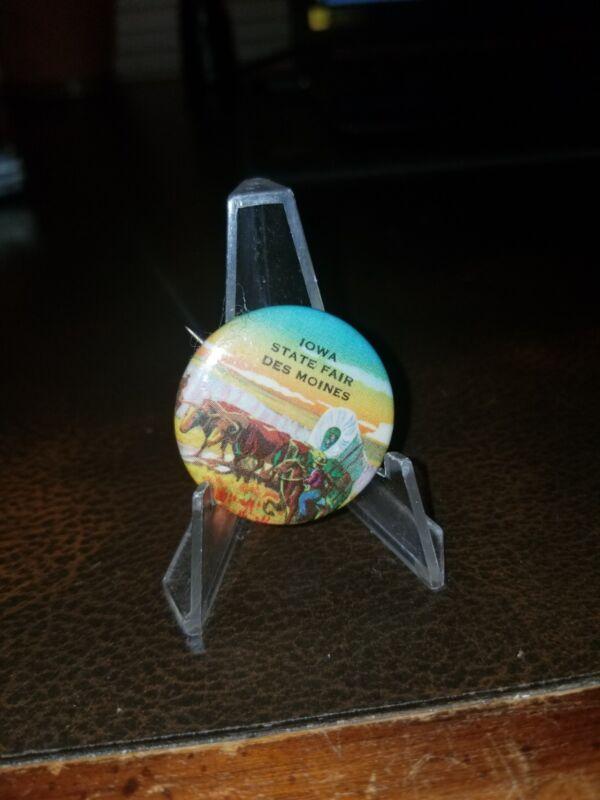 "IOWA State Fair Vintage Souvenir Button Pinback Pin Horse Racing 1950s 1.25"""