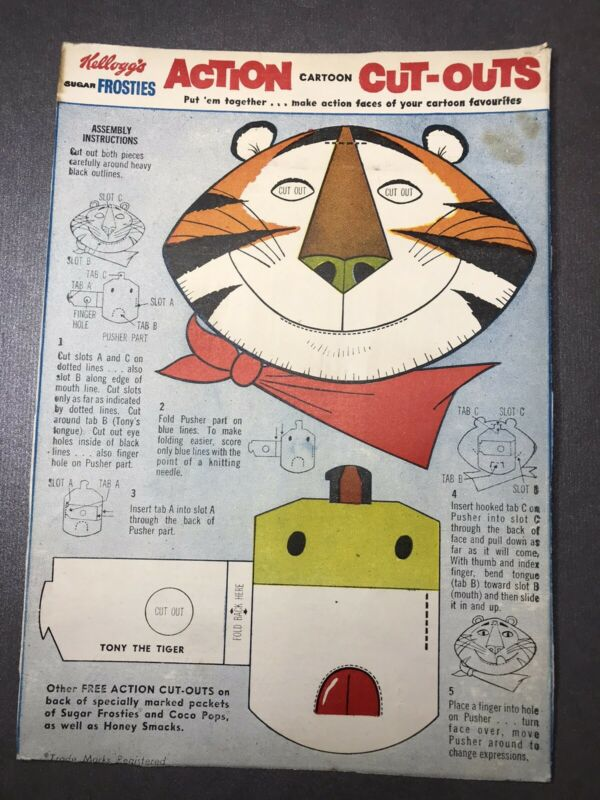 Vintage 1960's Kellogg's SUGAR FROSTIES Tony The Tiger ACTION CARTOON CUT-OUTS