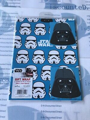 Star Wars Gift Wrap x2 wrapping paper & matching tags Hallmark (50cm x 70cm) BN