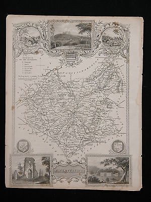 Original Vtg Antique LEICESTERSHIRE Map circa 1840s by Moule 19th C. Engraving