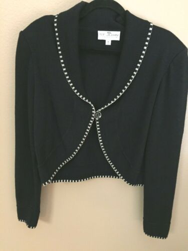 ST JOHN Collection Size 12 Black Knit Short Jacket Trim 1 Button Bolero Medium