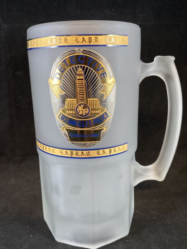 """LAPD Detective """"To Protect And Serve"""" Frosted Beer Mug 32oz"""