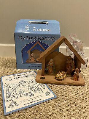 FONTANINI My First Nativity Set -Wooden Stable Holy Family Figurine Original