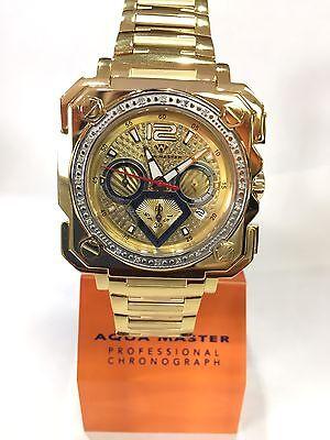 Men Aqua Master Jojo Jojino Joe Rodeo Yellow Metal Band 45Mm Diamond Watch W 355