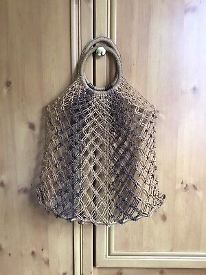 Vintage 1970s Woven String Macrame Shopper Bag