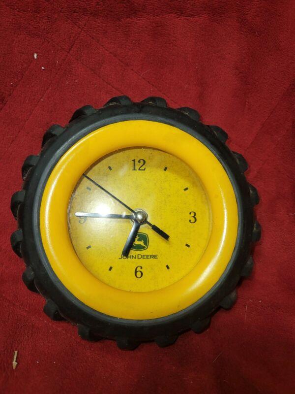 "Working John Deere Tractor Rubber Tire Wheel Wall Desk 6.5"" Clock Vintage Tested"