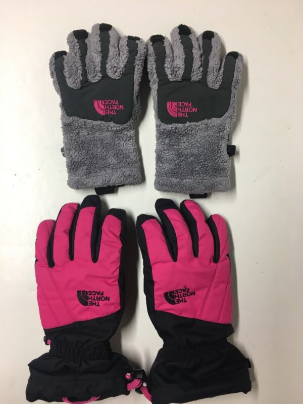 Girls LOT of 2 Pairs, THE NORTH FACE Youth Glove Size M ~ Black Pink Gore-Tex