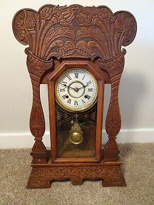 Antique Victorian New Haven Clock Co Gingerbread Oak Bracket Clock Chime Key