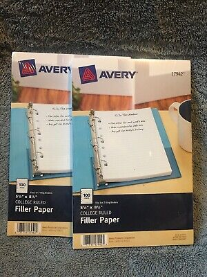 Avery Mini Binder Filler Paper 5.5 X 8.5 7 Hole College Rule 100 Sheet New 2